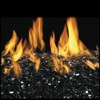 "24"" Black Reflective Vented Fyre Glass / G45 Stainless Steel Triple T Glass Burner - Peterson Real Fyre"