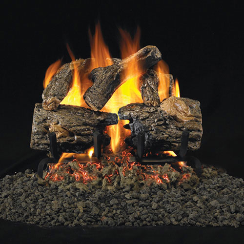 "16"" Charred Oak Vented Log Set / G45 Triple T Burner - Peterson Real Fyre"