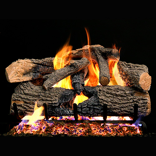 "18"" Charred Evergreen Oak Vented Log Set / G52 Radiant Fyre Burner - Peterson Real Fyre"