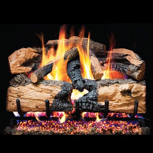 "18"" Charred Evergreen Split Oak Vented Log Set / G52 Radiant Fyre Burner - Peterson Real Fyre"