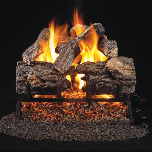 "16"" Burnt Rustic Oak Vented Log Set / G45 Triple T Burner - Peterson Real Fyre"
