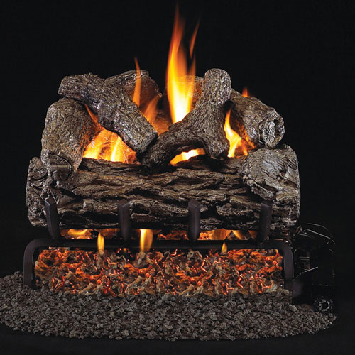 "12"" Golden Oak Vented Log Set / G4 Ember Burner - Peterson Real Fyre"