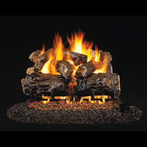 "18"" Burnt Rustic Oak Vented Log Set / G46 ANSI Certified Burner - Peterson Real Fyre"