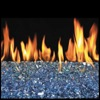 "30"" Caribbean Blue Vented Fyre Glass / G45 Stainless Steel Triple T Glass Burner - Peterson Real Fyre"